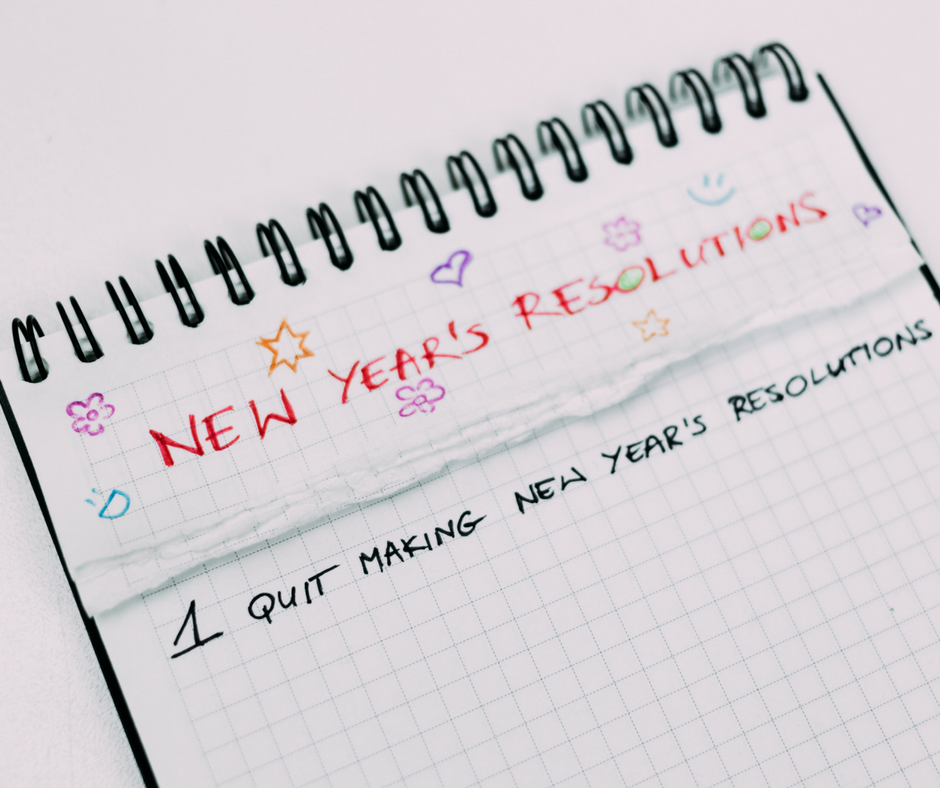 Notepad with New Year's Resolutions heading and No1 Quit.  Fit & Happy show you how to succeed.
