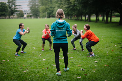 Squats at Fit & Happy's boot camp for women in Edinburgh