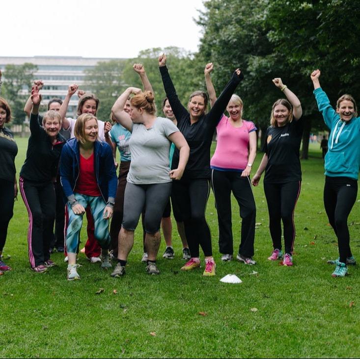 Edinburgh boot camp ladies having fun in the Meadows - Fit & Happy Personal Training