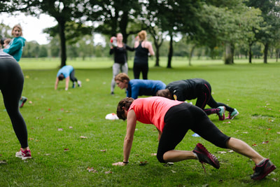 Ladies at Fit & Happy Boot Camp in the Meadows, Edinburgh