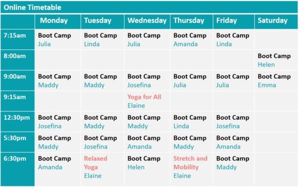 Online boot camp timetable Edinburgh fitandhappy