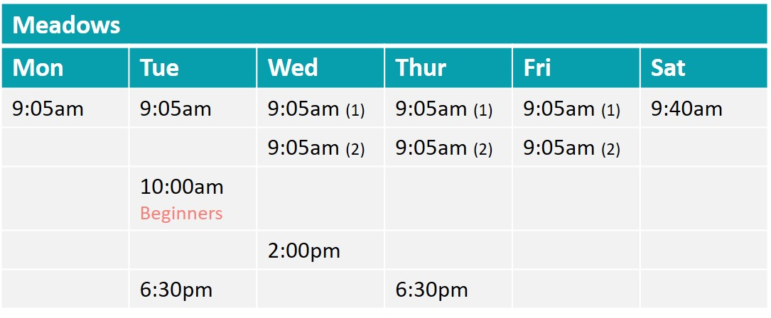 Meadows fitandhappy boot camp timetable