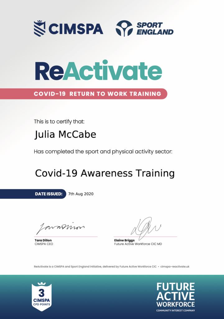 Covid-19 awareness training certificate