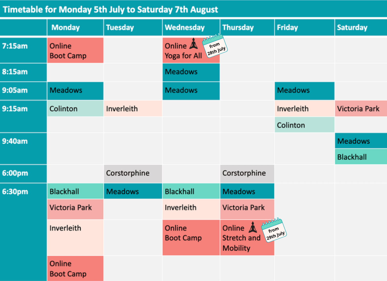 Boot Camp Summer Timetable