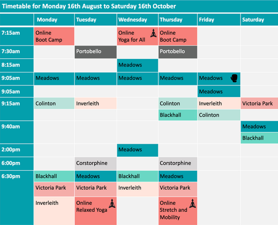 Timetable for Monday 16th August to Saturday 16th October